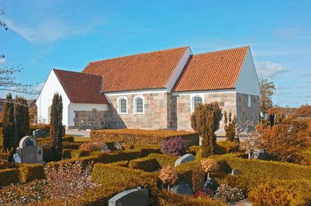 churchyard: A photo of a Danish church Stock Photo