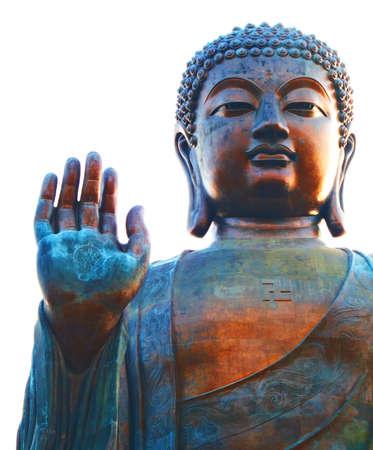 A  photo of a huge figure of Buddha
