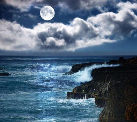 A photo of the moon  wild waves - Oahu, Hawaii photo