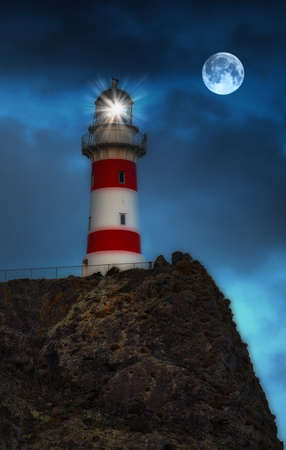A photo of a lighthouse at night in New Zealand