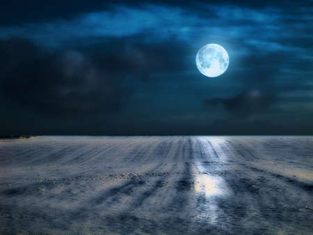 snow field: A photo of the moon and winter landscape