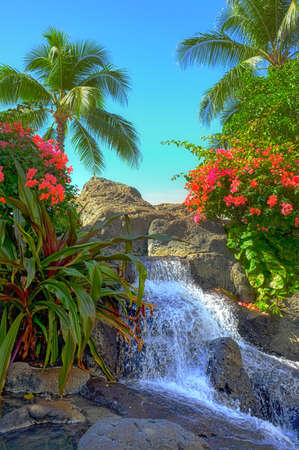 A photo of a tropical waterfall