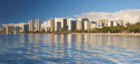 honolulu: A photo of the beach of Waikiki, Honolulu, Hawaii Stock Photo