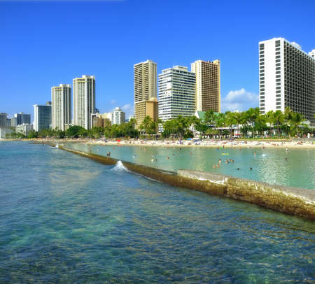 A photo of Waikiki - tropical beach and skyline, Honolulu, Hawaii Stock Photo - 12563966