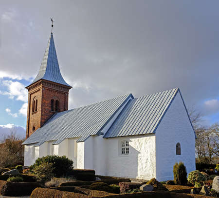blue church: A photo of a Danish church Stock Photo