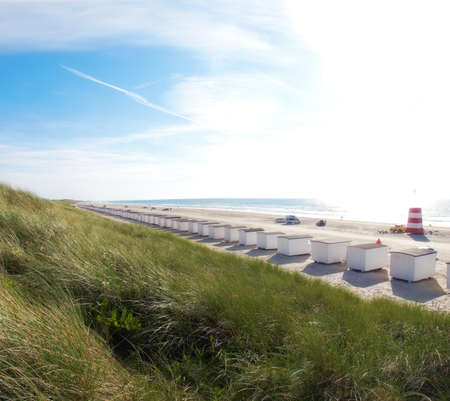 jutland: A photo of beach houses - the beach of Jutland, Denmark. Longest beach in the world
