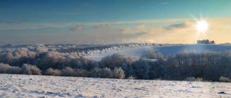 snowscape: Beautiful winter landscape at early sunset