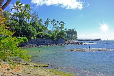 guadeloupe: An icon photo of tropical beach (Kahala, Oahu, Honolulu) Stock Photo