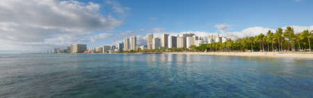 A photo of the beach of Waikiki, Honolulu, Hawaii Stock Photo