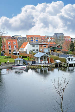 Houses and river in beautiful Danish city  Silkeborg Stock Photo - 14638824