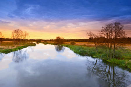 A photo of river landscape in sunset photo