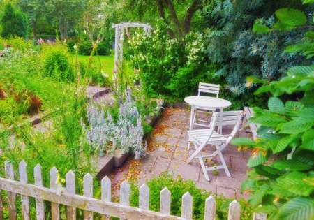 A photo of a colorful Danish summer garden