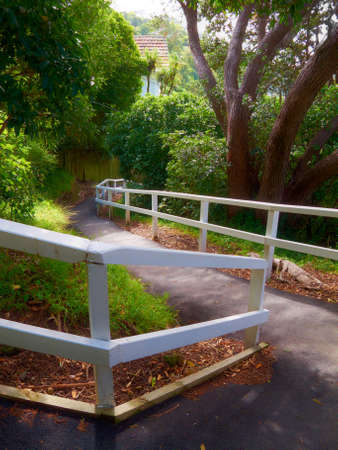 stockade: Hill trail in Karaka Bay, Wellington, New Zealand Stock Photo