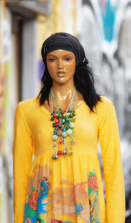 A photo of an old, colorful female mannequin Stock Photo - 17293559