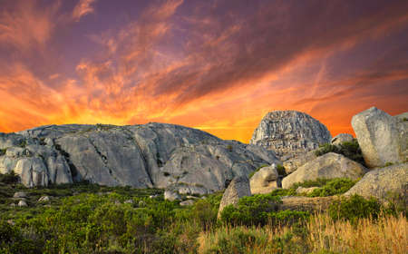 A photo sunset at mountain top, Lions Head,  in Western Cape,  South Africa Stock Photo