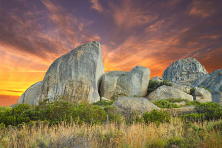 granite park: A photo sunset at mountain top, Lions Head,  in Western Cape,  South Africa Stock Photo