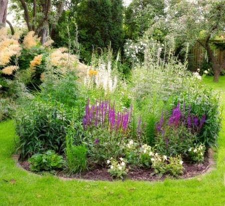 A photo of Garden flowerbed in sunlight