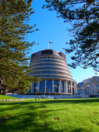 A photo of the Beehive building - Parliament of New Zealand in Wellington city