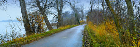 A photo of sea, road and landscape in autumn photo