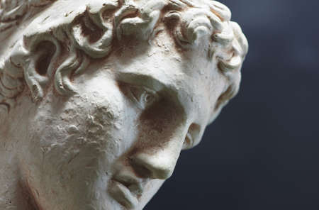 A photo of Greek philosopher - sad, deep, and enlighted