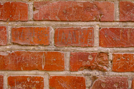 A photo of a red brick wall
