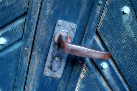 A photo of a very old blue door - Church Stock Photo - 17328232