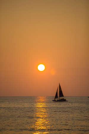 A photo of sunset in Waikiki, Honolulu, Hawaii photo