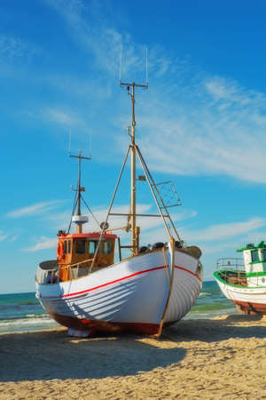 meer: A photo of a Danish fishing boat at the beach Stock Photo