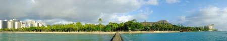 honolulu: A panorama photo of Waikiki beach Stock Photo