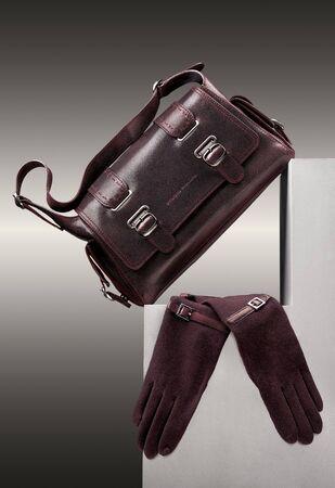 pocketbook: Brown handbag and gloves. Brown handbag and gloves on a step.