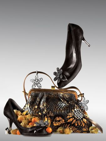 creatively: Shoes and purse display.  A still life arrangement of a pair of womans black high heel shoes and purse with matching decorations