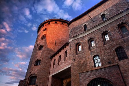 bulwark: Fortress in Poland. Large fortress in Poland against blue sky. Stock Photo
