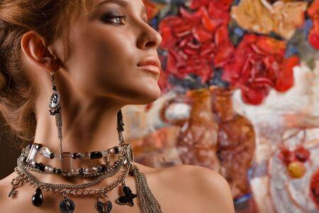 glamorous: A portrait of a glamorous woman wearing beautiful jewelery