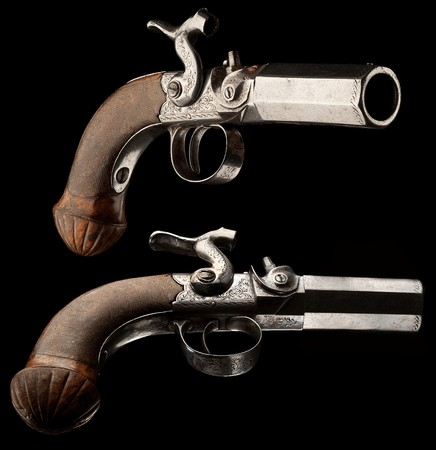 weaponry: Small capsule pistol. Capsule pistol for hidden carrying. Europa, 18th Century.