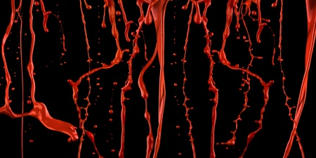 catchy: A juicy red paint splashing against black background. Stock Photo