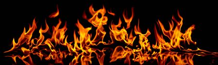 Fire and flames. Fire flames on a black background. Stock Photo - 10348430