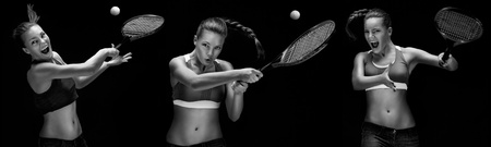 tennis: Female tennis player with racket ready to hit a tennis ball  Stock Photo