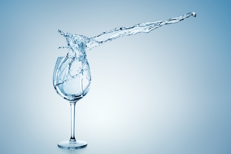 goblet: Water splashing into or out of a stemmed wine glass