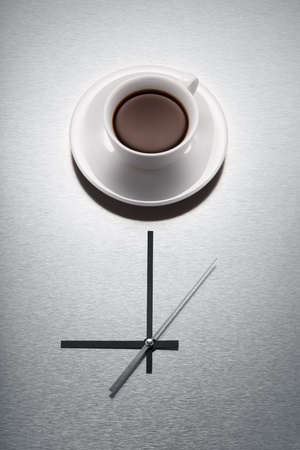 It´s coffee time  Close-up of Coffee and Clock Stock Photo - 17741298