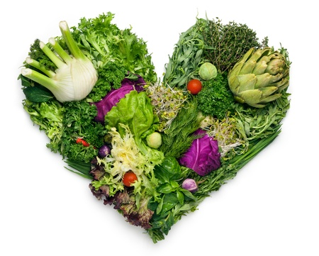 low fat diet: From nature with love  An isolated shot with a heart of green goods  Stock Photo