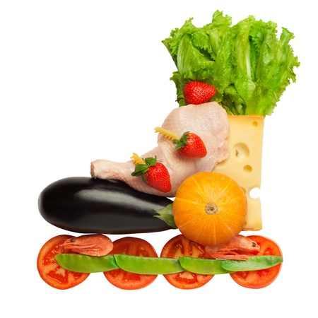 rollerblade: Healthy food in a healthy body  fitness as a life-style  A cute rollerblade, comrised of different edible and healthy stuff