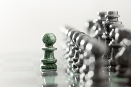 tactics: One pawn staying against full set of chess pieces.
