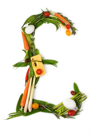 It grows in rain - The pound sign made of vegetables with cheese in a middle Stock Photo - 18666509