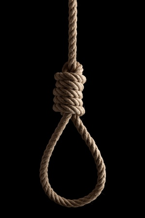 capital punishment: Choose your destiny - Rope noose with hangman Stock Photo