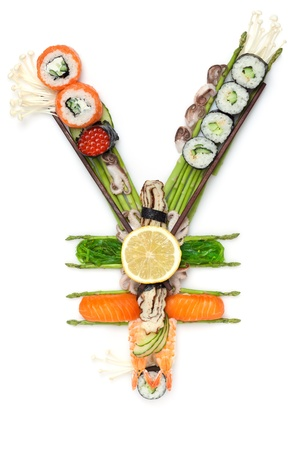 Fish tuna by sushi - A still life of yen sign made of sushi. photo