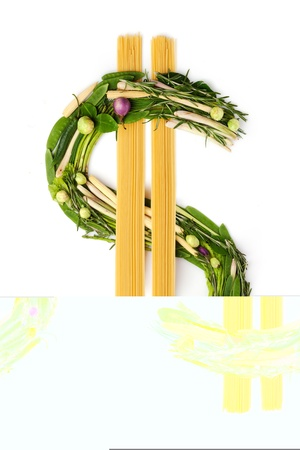 In food we trust - The dollar sign made of green vegetables and noodle