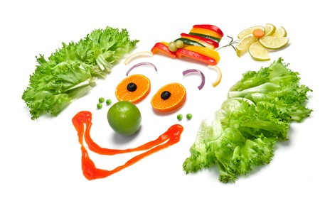 If you fall better fall in love - A happy clown made of fruits and vegetables  Stock Photo