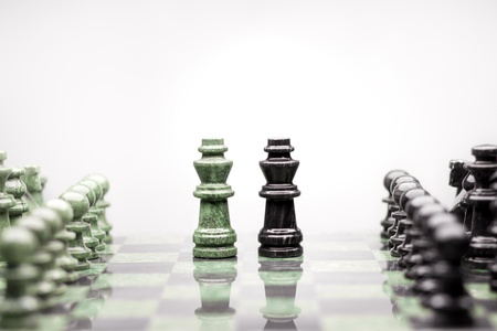 Kings summit talk - A composition of two kings between the raws of chess pieces