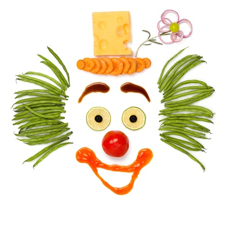 Make your thought done - A kind clown made of vegetables and cheese.