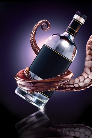 The drunk Ktulhu - The photo of tentacle holding the bottle  photo